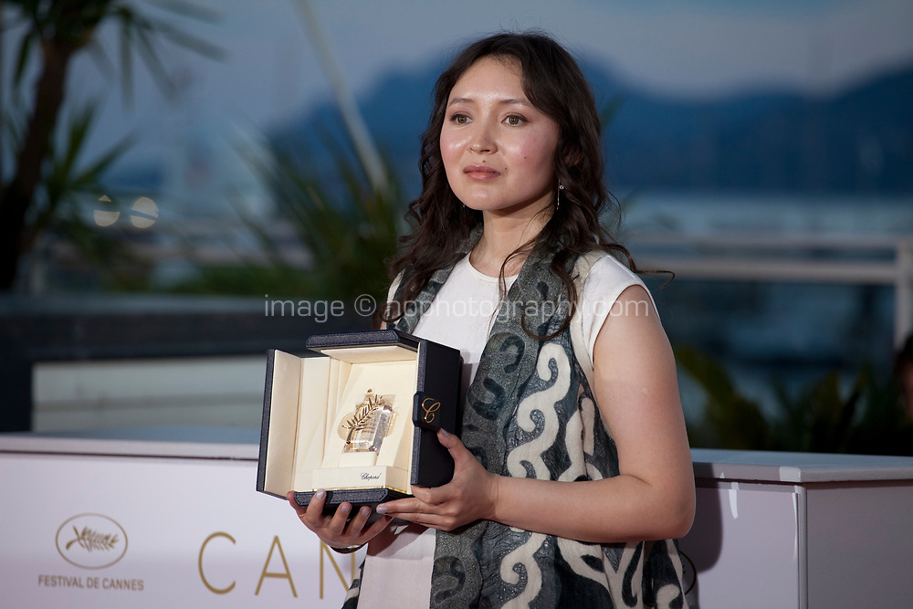 Actress Samal Yeslyamova winner of the Best Actress award in Ayka  (The Little One) at the Award Winner's photo call at the 71st Cannes Film Festival, Saturday 19th May 2018, Cannes, France. Photo credit: Doreen Kennedy