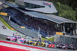 08.06.2019, Red Bull Ring, Spielberg, AUT, ADAC GT Masters Spielberg, Rennen, im Bild v.l.: Jeffrey Schmidt (SUI)/Christopher Haase (GER) Audi R8 LMS, Mattia Drudi (ITA)/Florian Spengler (GER) Audi R8 LMS // f.l.: Swiss ADAC GT Masters driver Jeffrey Schmidt/German ADAC GT Masters driver Christopher Haase Audi R8 LMS Italian ADAC GT Masters driver Mattia Drudi/German ADAC GT Masters driver Florian Spengler Audi R8 LMS during the race for the ADAC GT Masters at the Red Bull Ring in Spielberg, Austria on 2019/06/08. EXPA Pictures © 2019, PhotoCredit: EXPA/ Dominik Angerer