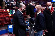 Umberto Gandini, Stefano Sardara<br /> A|X Armani Exchange Olimpia Milano - UNAHotels Reggio Emilia<br /> LBA Frecciarossa Final Eight 2021 - Quarti di Finale<br /> Legabasket Serie A UnipolSAI 2020/2021<br /> Milano, 11/02/2021<br /> Foto L.Canu / Ciamillo-Castoria