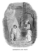 Ignorance and Want presented by a ghost appearing to Scrooge. Illustration by John Leech (1817-1864) for Charles Dickens (1812-1870) 'A Christmas Carol', London 1843-1844.