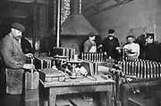 World War I. Filling shrapnel shells. British Armoury.