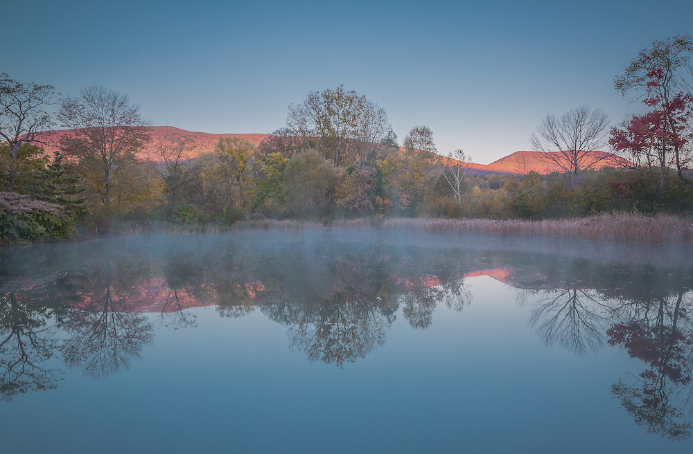 A sublimely beautiful autumn morning at a small pond in southern Vermont.