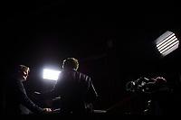 Ishockey , GET-Ligaen , Eliteserien <br /> Tirsdag 1. desember , 20151201<br /> Vålerenga - Lørenskog<br /> Geir Hoff og Kasper Wikestad i Tv2s studio på Jordal før kampen<br /> Foto: Sjur Stølen / Digitalsport