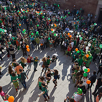 Revellers participate in a Saint Patrick's day celebration march in Budapest, Hungary on March 17, 2012. ATTILA VOLGYI