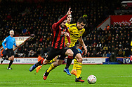 Lewis Cook (16) of AFC Bournemouth battles for possession with Sokratis Papastathopoulos (5) of Arsenal during the The FA Cup match between Bournemouth and Arsenal at the Vitality Stadium, Bournemouth, England on 27 January 2020.