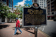MONTGOMERY, AL -- 5/25/17 --  A plaque marks the site where Rosa Parks famously boarded the bus and refused to give up her seat to white passengers. <br /> Civil Rights attorney Morris Dees co-founded the Southern Poverty Law Center in 1971. The group has taken on the Ku Klux Klan and fought for against hate for decades, but is now facing criticism that it has labeled some groups without just cause..…by André Chung #_AC20172