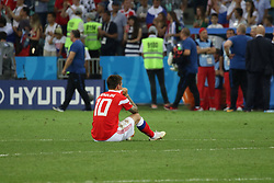 July 7, 2018 - Sochi, Russia - July 07, 2018, Sochi, FIFA World Cup 2018, the playoff round. 1/4 finals of the World Cup. Football match Russia - Croatia at the stadium Fisht. Player of the national team Fedor Smolov; Fedor Smolov. (Credit Image: © Russian Look via ZUMA Wire)
