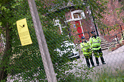 © Licensed to London News Pictures. 04/05/2012. Manchester, UK. General view of Victoria Nursing Home, Rusholme. Two PCSOs stand at the entrance following an announcement that police are investigating the death of 73 year old Ivan Emmanuel Campbell. Photo credit : Joel Goodman/LNP