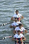 Seville, Andalusia, SPAIN<br /> <br /> 2002 World Rowing Championships - Seville - Spain Sunday 15/09/2002.<br /> <br /> Rio Guadalquiver Rowing course<br /> <br /> ESP LM4-  Bow CAMADRO MATAMALA, Mirson,<br /> FLORIDO PELLON, Juan Manuel<br /> FRAGUELA BREIJO, Alejandro<br /> GONZALEZ ALVAREZ, Jesus<br /> <br /> [Mandatory Credit:Peter SPURRIER/Intersport Images]