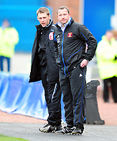 Coca-Cola Football League One Carlisle United vs Northampton Town Greg Abbott (Carlisle manager) is asked to calm things down by the fourth offical<br /> 28/03/2009. Credit Colorsport / Darren Blackman