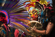 A dancer, of Kalpulli Tlaloktecuhitli Aztec Dance, performs during the Duwamish River Festival at Duwamish Waterway Park in Seattle. (Lindsey Wasson/The Seattle Times)