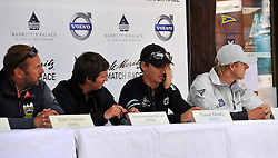 The four Skippers line up for the semi-final press conference. Photo:Chris Davies/WMRT