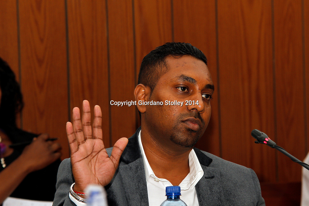 DURBAN - 24 July 2014 - Ravi Jagadasan, the owner of Rectangle Property Investments, the company that was developing the ill-fated Tongaat Mall,takes the oath at a Department of Labour commission of inquiry established to probe the events that led to its collapse, killing two people and injuring 29 on November 19, 2013. Jagadasan is the son of controversial Durban businessman Jay Singh. Picture: Allied Picture Press/APP