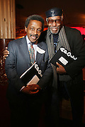 l to r: Kwame Brathwaite and Herb Boyd at the Apollo Theater 75th Birthday Celebration Press Conference announcing its special anniversary programming across Harlem, New York, and the Nation.