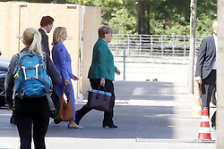 Germany, Berlin - June 14, 2018.The German Chancellor Angela Merkel leaves the Federal Chancellery in Berlin by car, with Steffen Seibert, government spokesman (Credit Image: © Darmer/Davids/Ropi via ZUMA Press)