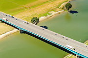 Nederland, Utrecht, Utrecht, 23-08-2016; Lekbrug in A27 over De Lek, brug Hagestein;<br /> Lekbridge A27, river Lek bridge Hagestein<br /> aerial photo (additional fee required);<br /> copyright foto/photo Siebe Swart