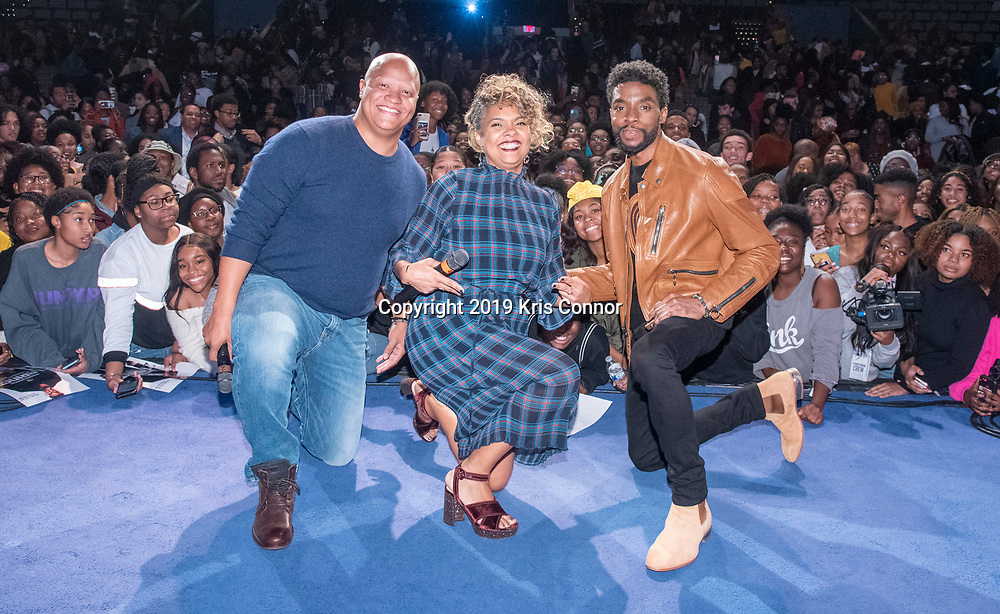 WASHINGTON, DC - NOVEMBER 18: Host Cori Murray speaks with actor Chadwick Boseman, and producer Logan Coles during a Q&A after an advance screening of STX Films' 21 Bridges at Howard University on November 18, 2019 in Washington, DC. (Photo by Kris Connor/STX Films)