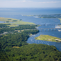 The mouth of the Connecticut River in Old Lyme, Connecticut.  Aerial.  Long Island Sound.