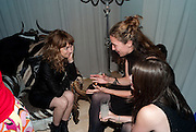 LESLIE FRITZ; CLAIRE LEHMANN; ALI CARDIA, Frieze week party at the Sanderson hotel hosted by Andrew Kreps Gallery and Anton Kern Gallery . Billiard Room at Sanderson. London. 16 October 2010. <br /> <br /> -DO NOT ARCHIVE-© Copyright Photograph by Dafydd Jones. 248 Clapham Rd. London SW9 0PZ. Tel 0207 820 0771. www.dafjones.com.