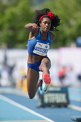 August 12, 2018 - Toronto, ON, U.S. - TORONTO, ON - AUGUST 12: Tori Franklin (USA), silver in triple jump at the 2018 North America, Central America, and Caribbean Athletics Association (NACAC) Track and Field Championships on August 12, 2018 held at Varsity Stadium, Toronto, Canada. (Photo by Sean Burges / Icon Sportswire) (Credit Image: © Sean Burges/Icon SMI via ZUMA Press)