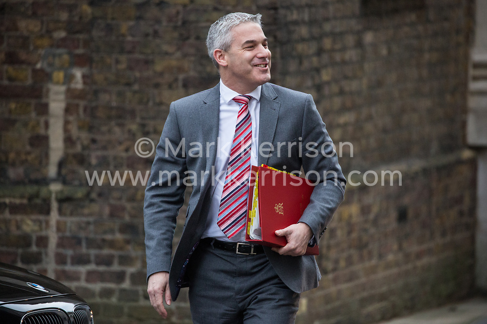 London, UK. 15th January, 2019. Stephen Barclay MP, Secretary of State for Exiting the European Union, arrives at 10 Downing Street for a Cabinet meeting on the day of the vote in the House of Commons on Prime Minister Theresa May's proposed final Brexit withdrawal agreement.