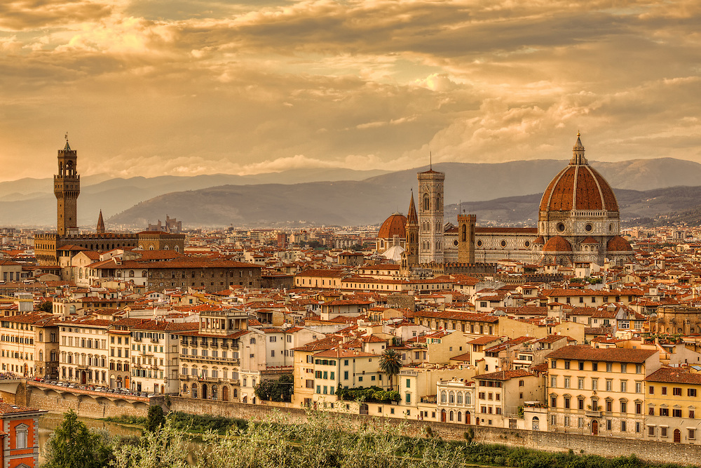 The Piazzale Michelangelo (Michelangelo Square), in the Oltrarno district, Florence, Italy has perhaps the best panoramic view of the city. The panorama embraces the heart of Florence from Forte Belvedere to Santa Croce, across the lungarni and the bridges crossing the Arno, including the Ponte Vecchio, the Duomo, Palazzo Vecchio, the Bargello and the octagonal bell tower of the Badia Fiorentina. Beyond the view of the city itself are the hills of Settignano and Fiesole.