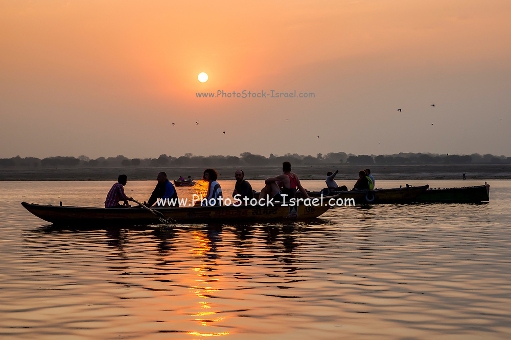 Varanasi, India. Tourists in Row boats on the Ganges river
