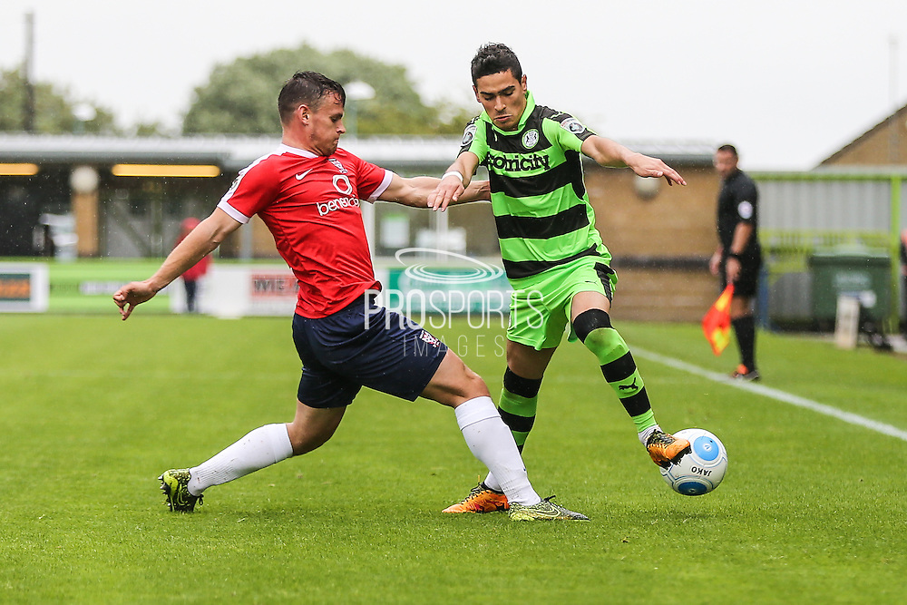 Forest Green Rovers Mohammed Chemlal (25) & York City's Matty Dixon(23) battles for possession during the Vanarama National League match between Forest Green Rovers and York City at the New Lawn, Forest Green, United Kingdom on 20 August 2016. Photo by Shane Healey.