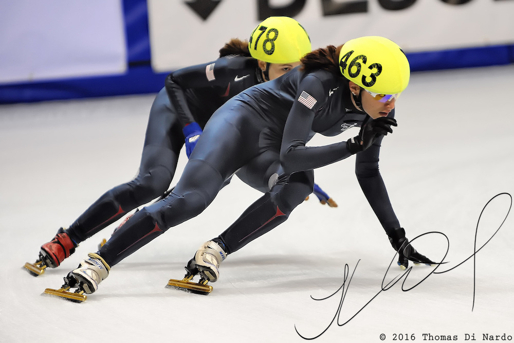 2008 World Cup Short Track - Vancouver - Katherine Reutter (USA) and Kimberly Derrick (USA) take some practice laps during the Sunday Warm-up before the start of the day's competition.