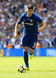 """Chelsea's Alvaro Morata during the Community Shield at Wembley, London. PRESS ASSOCIATION Photo. Picture date: Sunday August 6, 2017. See PA story SOCCER Community Shield. Photo credit should read: Nigel French/PA Wire. RESTRICTIONS: EDITORIAL USE ONLY No use with unauthorised audio, video, data, fixture lists, club/league logos or """"live"""" services. Online in-match use limited to 75 images, no video emulation. No use in betting, games or single club/league/player publications."""
