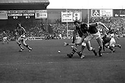 Martin O'Doherty of Cork beats Christy Heffernan of Kilkenny to the ball to break up a Kilkenny attack, at the All Ireland Hurling Final at Croke Park, Dublin. Kilkenny finally won the match, beating Cork 3–18 to 1–13.<br /> 5 September 1982