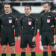 Referee's Ozguc Turkalp (C) during their Turkey Cup matchday 3 soccer match Besiktas between Gaziantepspor BSB at the Inonu stadium in Istanbul Turkey on Wednesday 11 January 2012. Photo by TURKPIX