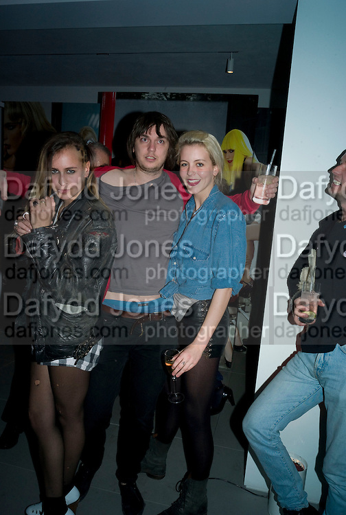ALICE DELLAL, SAM MCCARTHY ( FILTHY LUCRE)   AND LAURA FRASER , A very Private Affair, Agent Provocateur in association with arena magazine. Spring/Summer collection party. Louise T. Blouin Foundation. 3 Olaf St. London. 1 April 2008. *** Local Caption *** -DO NOT ARCHIVE-© Copyright Photograph by Dafydd Jones. 248 Clapham Rd. London SW9 0PZ. Tel 0207 820 0771. www.dafjones.com.