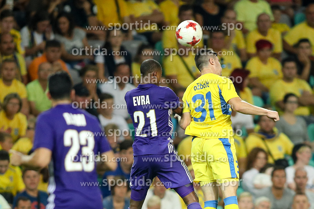 Patrice Evra of Olympic Marseille and Alen Ozbolt of NK Domzale during football match between NK Domzale and Olympique de Marseille in First game of UEFA Europa League playoff round, on August 17, 2017 in SRC Stozice, Ljubljana, Slovenia. Photo by Morgan Kristan / Sportida