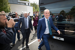 © Licensed to London News Pictures. 16/05/2017. Portsmouth, UK. Liberal Democrat party leader Tim Farron (R) leaves the Mary Rose Academy special needs school after a visit. The Lib Dems have today announced plans for education and business during campaigning for the general election on June 8, 2017.  Photo credit: Peter Macdiarmid/LNP