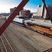 Freight train passing through behind Union Station in Kansas City, Missouri.