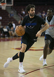 October 10, 2017 - Los Angeles, California, U.S - Milos Teodosic #4 of the Los Angeles Clippers dribbles during their Free Open Practice for fans held on Tuesday October 10, 2017 at the Galen Center in USC in Los Angeles, California. (Credit Image: © Prensa Internacional via ZUMA Wire)