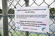 Covid-19 signage at the Auckland Netball Centre in St Johns, Auckland on the 27th May 2020 during level 2 lockdown.<br /> Copyright photo: Andrew Cornaga / www.photosport.nz
