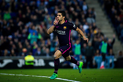 April 29, 2017 - Barcelona, Spain - BARCELONA, SPAIN. APRIL 29TH, 2017 - Luis Suarez celebrates his first goal during La Liga Santander matchday 35 game between Espanyol and FC Barcelona. RCDE Stadium. Photo by EALO | PHOTO MEDIA EXPRESS (Credit Image: © Ealo/VW Pics via ZUMA Wire/ZUMAPRESS.com)