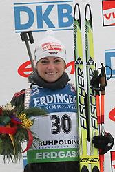 13.01.2011, Chiemgau Arena, Ruhpolding, GER, IBU Biathlon Worldcup, Ruhpolding, Individual Women..im Bild.Podium, 2. Platz, Andrea HENKEL (GER) // Podium, 2nd place, Andrea HENKEL (GER).during IBU Biathlon World Cup in Ruhpolding, Germany., EXPA Pictures © 2011, PhotoCredit: EXPA/ S. Kiesewetter