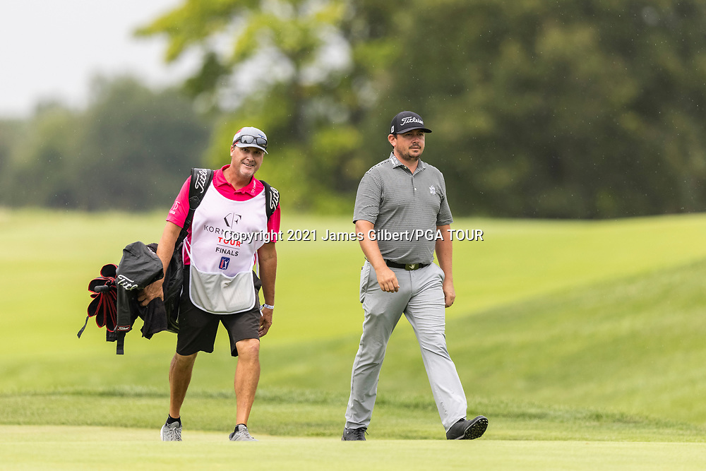 NEWBURGH, IN - SEPTEMBER 04: Joshua Creel walks with his caddie on the 9th hole during the third round of the Korn Ferry Tour Championship presented by United Leasing and Financing at Victoria National Golf Club on September 4, 2021 in Newburgh, Indiana. (Photo by James Gilbert/PGA TOUR via Getty Images)