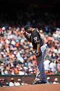 Pittsburgh Pirates starting pitcher Ivan Nova (46) waits for a San Francisco Giants batter early in the game at AT&T Park in San Francisco, Calif., on August 17, 2016. (Stan Olszewski/Special to S.F. Examiner)