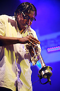 Cimiez-Nice, France. July 19th 2007.Marcus Miller's trumpeter player performs at the Nice jazz Festival.