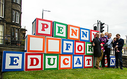 """Pictured: Lib Dem candidate Alex Cole-Hamilton, his daughter Darcy, Alexs Lang, Willie Rennie, Annabella Paterson and her candidate father Jamie.<br /> <br /> Scottish Liberal Democrat leader Willie Rennie made his final pitch for votes today as he unveiled large building blocks that spelt out the party's flagship """"Penny for education"""" policy. Scottish Liberal Democrats HQ, 4, EH12 5DR. Adam Clarke 07450 980 386.the election on Thursday.<br /> <br /> Ger Harley 