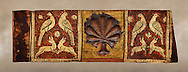 Gothic decorative painted beam panels with doves, hares and a carved syalise tree, Tempera on wood. National Museum of Catalan Art (MNAC), Barcelona, Spain ..<br /> <br /> If you prefer you can also buy from our ALAMY PHOTO LIBRARY  Collection visit : https://www.alamy.com/portfolio/paul-williams-funkystock/romanesque-art-antiquities.html<br /> Type -     MNAC     - into the LOWER SEARCH WITHIN GALLERY box. Refine search by adding background colour, place, subject etc<br /> <br /> Visit our ROMANESQUE ART PHOTO COLLECTION for more   photos  to download or buy as prints https://funkystock.photoshelter.com/gallery-collection/Medieval-Romanesque-Art-Antiquities-Historic-Sites-Pictures-Images-of/C0000uYGQT94tY_Y