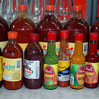 Americas, Mexico, Guanajuato.  A vareity of Mexican hot sauces and salsas.