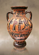 560-550 B.C Etruscan attica style amfora painted in the style of Lydos, inv 70995,   National Archaeological Museum Florence, Italy .<br /> <br /> If you prefer to buy from our ALAMY PHOTO LIBRARY  Collection visit : https://www.alamy.com/portfolio/paul-williams-funkystock - Scroll down and type - Etruscan Florence - into LOWER search box. (TIP - Refine search by adding a background colour as well).<br /> <br /> Visit our ETRUSCAN PHOTO COLLECTIONS for more photos to download or buy as wall art prints https://funkystock.photoshelter.com/gallery-collection/Pictures-Images-of-Etruscan-Historic-Sites-Art-Artefacts-Antiquities/C0000GgxRXWVMLyc