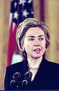 First Lady Hillary Clinton during a White House event February 17, 1999 in Washington, DC.