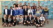 Perspresentatie  Kinderen voor Kinderen familiemusical 'Waanzinnig Gedroomd' op de Nicolaas Maesschool in Amsterdam.<br /> <br /> Op de foto: De cast van de musical Waanzinnig Gedroomd
