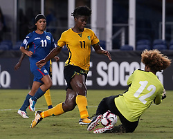 October 12, 2018 - Edinburgh, Scotland, United Kingdom - Edinburg, NC - OCTOBER 11: 2018.Khadija Shaw of Jamaica (Yellow).During CONCACAF Women's Championship Group B match between Cuba against Jamaica at H-E-BPark Stadium, Edinburg,  on October 11, 2018  (Credit Image: © Action Foto Sport/NurPhoto via ZUMA Press)